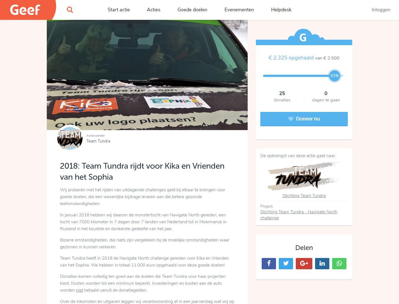 Doneren 2018 via Geef.nl | Stichting Team Tundra
