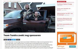 Artikel De Vonk 2018 | Team Tundra zoekt nog sponsoren